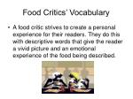 food critics vocabulary