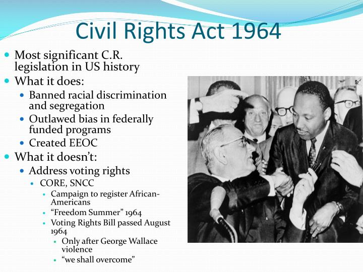 essay civil rights act of 1964 Civil rights act of 1964  the primary goal of your final assignment is to critically analyze the specific topic you have chosen regarding american national government.