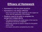 efficacy of homework
