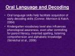 oral language and decoding