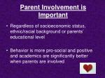 parent involvement is important