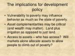 the implications for development policy