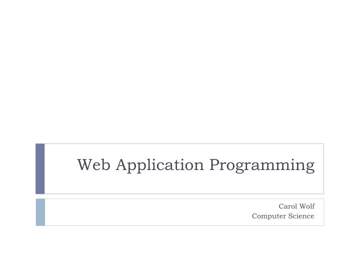 web application programming n.