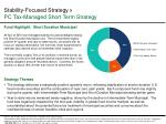 stability focused strategy pc tax managed short term strategy
