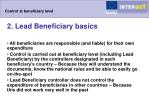 control at beneficiary level