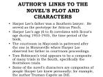 author s links to the novel s plot and characters
