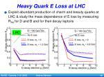 heavy quark e loss at lhc