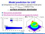 model prediction for lhc
