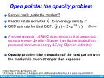 open points the opacity problem
