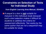 constraints on selection of texts for individual study1