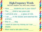 high frequency words half their daughters buy alone many youngest