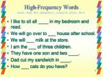 high frequency words many half buy daughters youngest alone their
