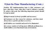 just in time manufacturing cont