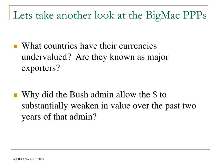 Lets take another look at the BigMac PPPs