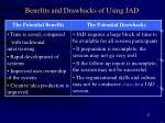 benefits and drawbacks of using jad