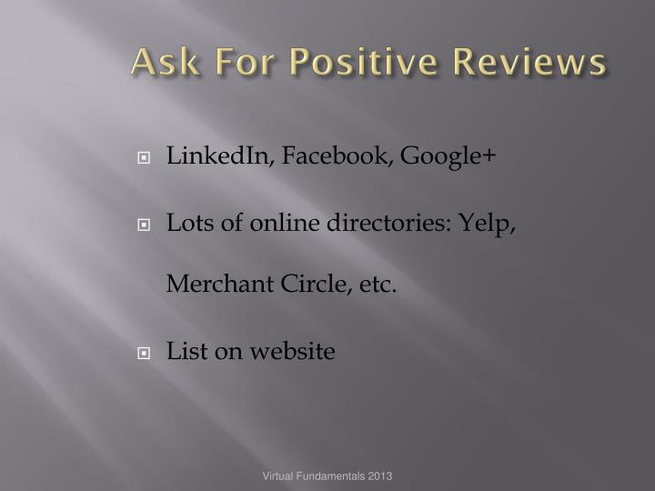 Ask For Positive Reviews