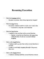 resuming execution
