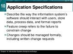 application specifications