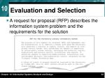 evaluation and selection1