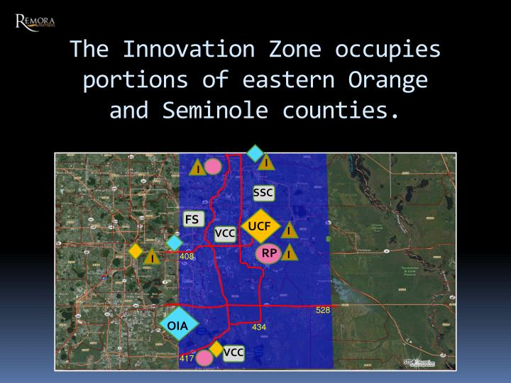 The Innovation Zone occupies portions of eastern Orange and Seminole counties.