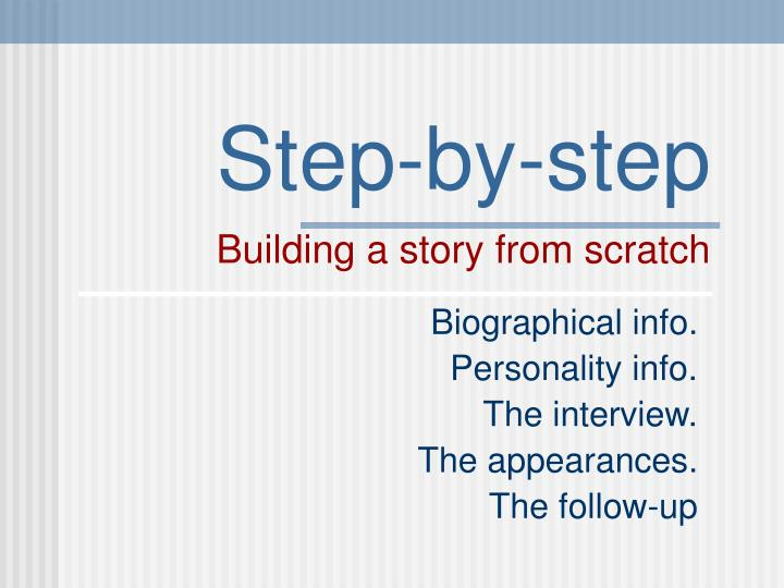 step by step building a story from scratch n.