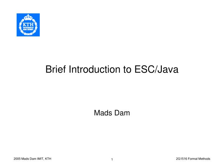 brief introduction to esc java n.