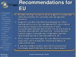 recommendations for eu