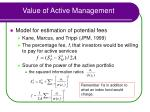 value of active management