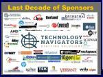 last decade of sponsors