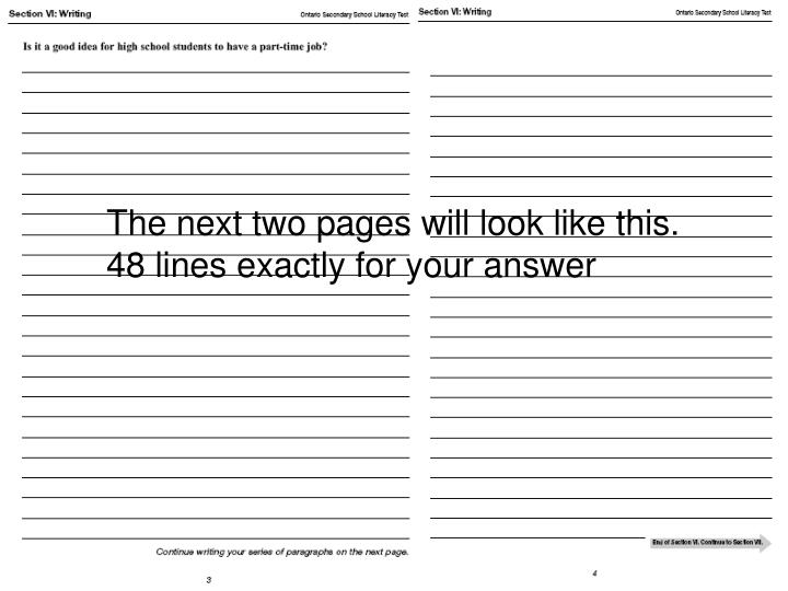 The next two pages will look like this.