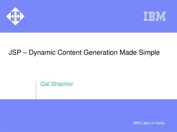 jsp dynamic content generation made simple n.