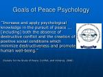 goals of peace psychology