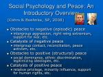 social psychology and peace an introductory overview