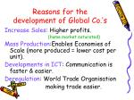 reasons for the development of global co s