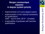 bergen communiqu requests in degree system priority