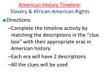 american history timeline slavery african american rights