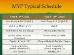 myp typical schedule