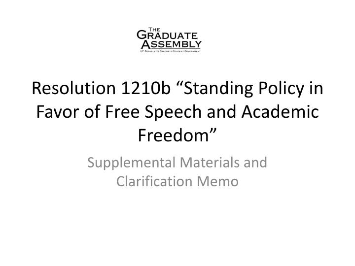 resolution 1210b standing policy in favor of free speech and academic freedom n.