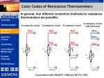 color codes of resistance thermometers