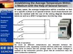 establishing the average temperature within a medium with the help of several sensors