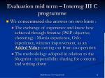evaluation mid term interreg iii c programme