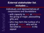 external stakeholder list includes