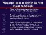 memorial looks to launch its next major campaign