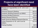 projects of significant need have been identified