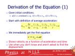 derivation of the equation 1