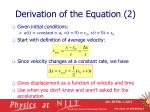 derivation of the equation 2