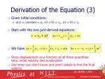 derivation of the equation 3