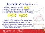 kinematic variables x v a