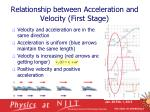 relationship between acceleration and velocity first stage