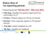 status quo of 1st reporting period